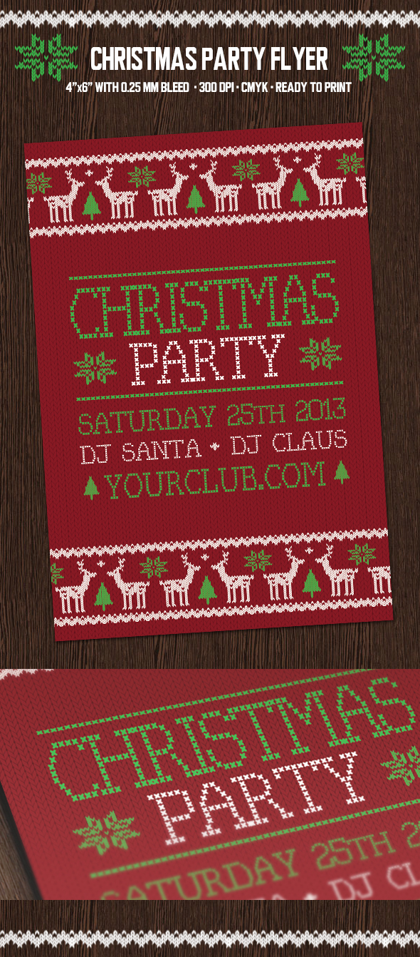 Christmas Party Flyer with Deers by PixelladyArt