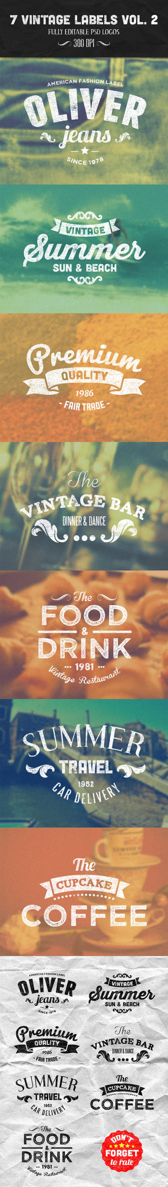 7 Vintage Labels Vol. 2 by PixelladyArt