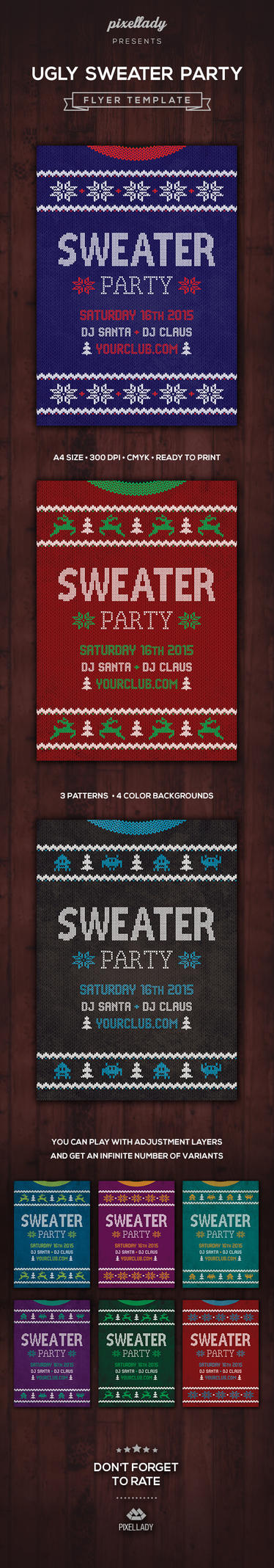 Ugly Sweater Party Flyer by PixelladyArt