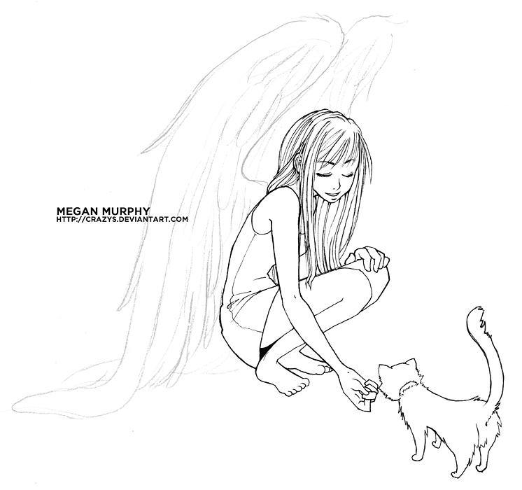 Anime Angel Girl Feeding A Cat By MechaBerry