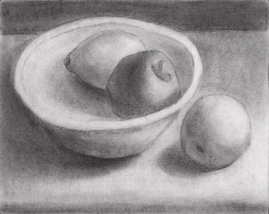 Bowl of Fruit Drawing Life Drawing Fruit Bowl