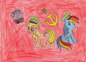 Soviet Applejack and Soviet Rainbow Dash - Color by Soviet-Applejack
