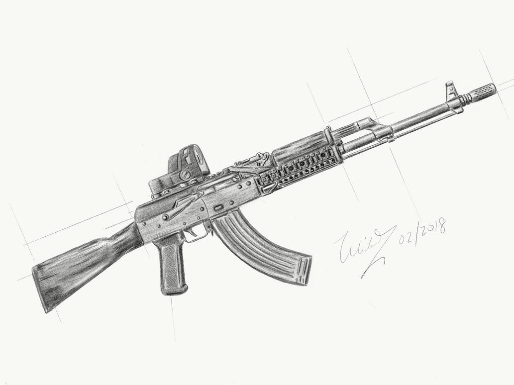 Ak 47 Pencil Sketch By Mykooooooo On Deviantart