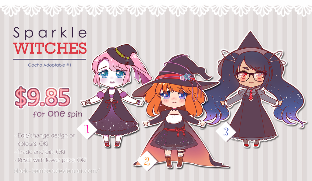[OPEN] Sparkle Witches Gacha Adoptable #1 by Black-Bamboo