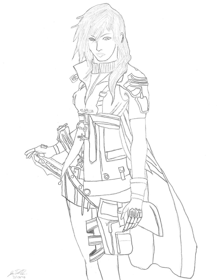 Final fantasy xiii lightning by sorarox10 on deviantart for Final fantasy coloring pages