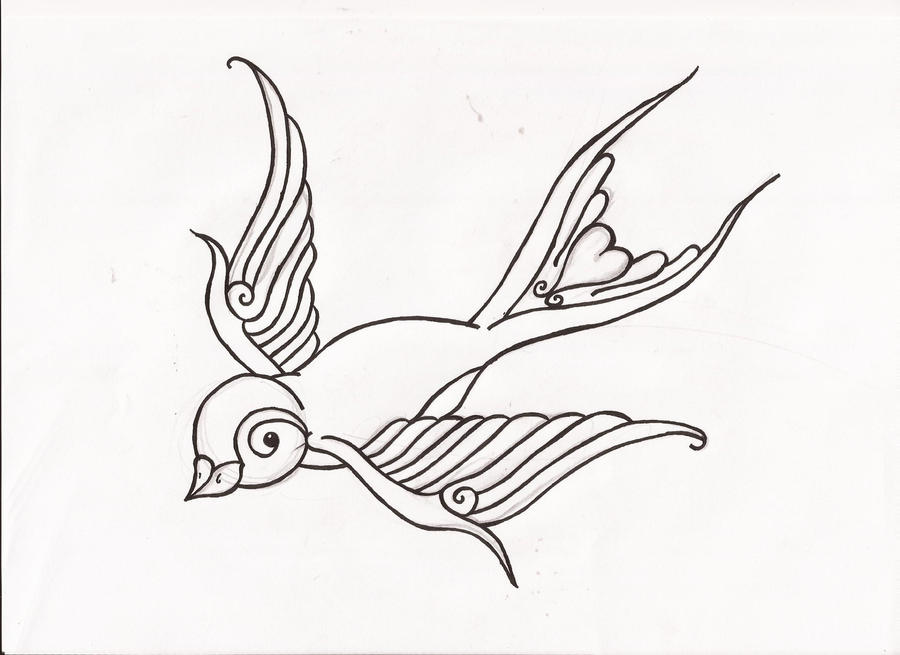 Swallow Tattoo Line Drawing : Simple swallow design by gingetaylor on deviantart