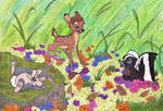 Bambi, Thumper and Flower by MoonyMina