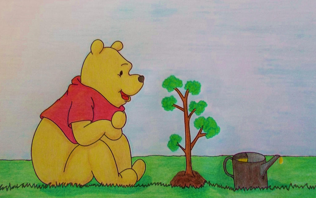 Winnie the Pooh is Gardening by MoonyMina