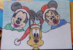 Minnie, Mickey and Pluto in Christmas Mood :)