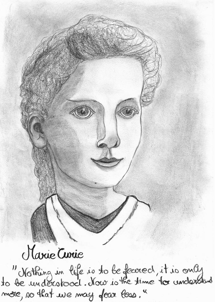 This is a graphic of Stupendous Marie Curie Drawing