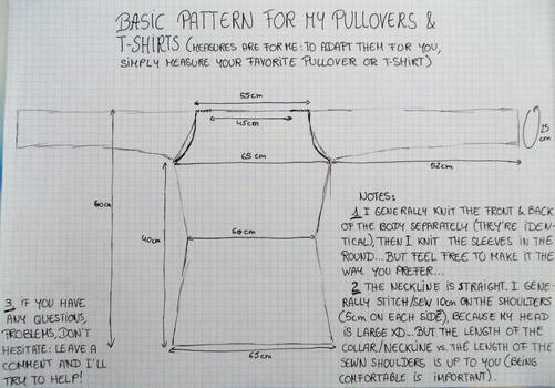 Basic Pattern for my Knitted Pullovers and Tees