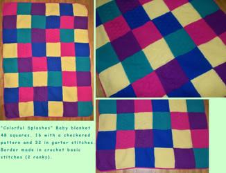 ''Colorful Splashes'' Baby Blanket