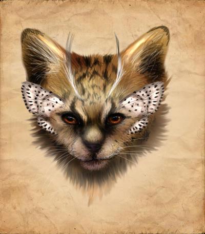 Adoptable - ButterflyKitty - The Serval Kitten END by LuxDani