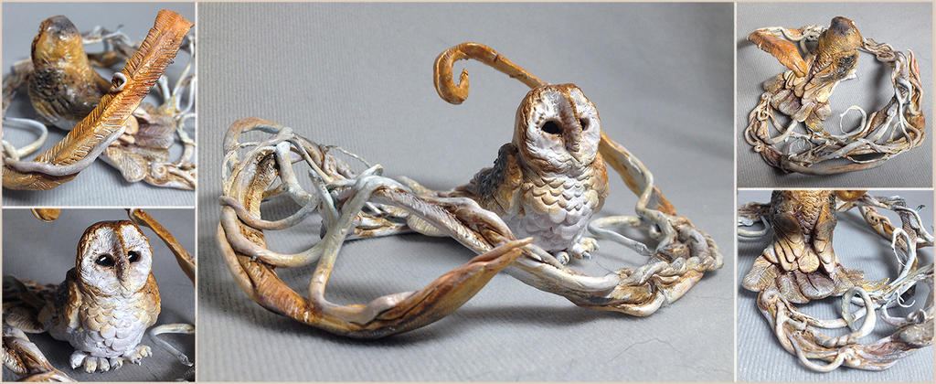 Fantasy Barn Owl Sculpture by LuxDani