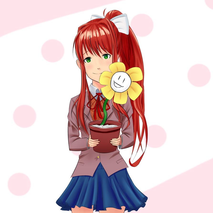 Monika x Flowey, the friendliest NPCs. by NetherFrog