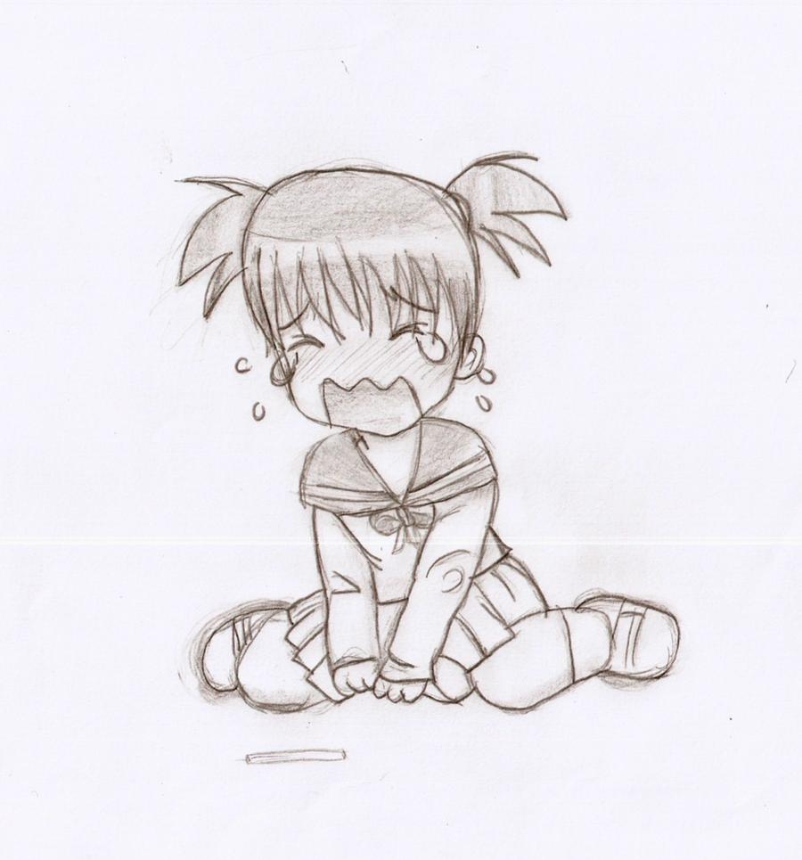 Chibi girl crying by cyslol on DeviantArt