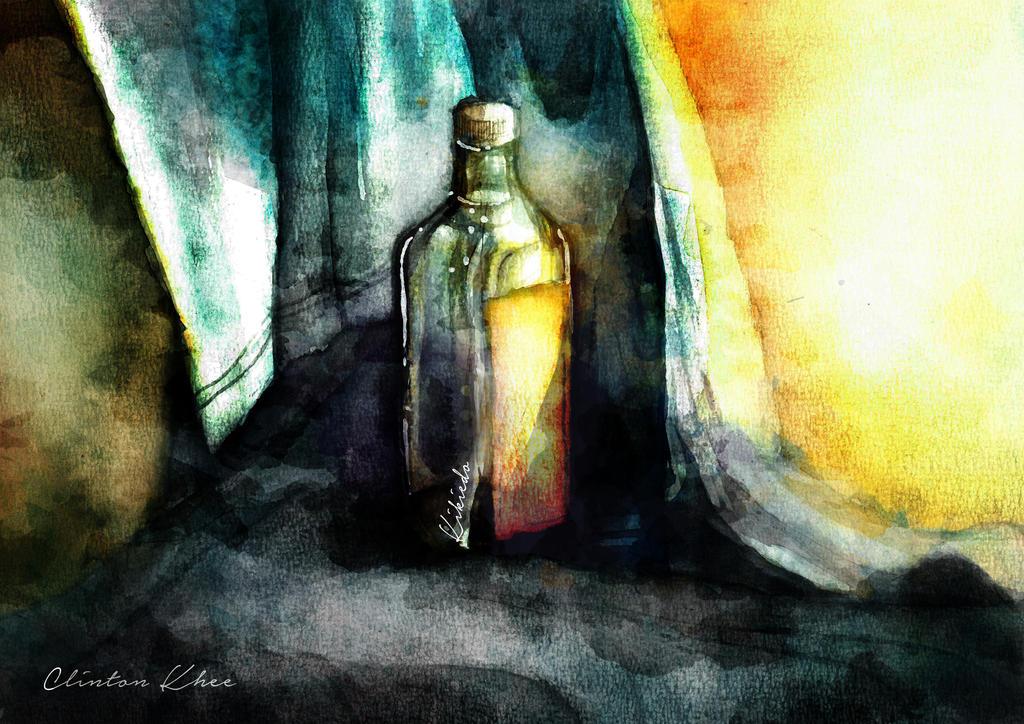 Glass Bottle Still Painting by KheeKhee