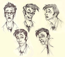 Tenth Doctor expression study by greyfin