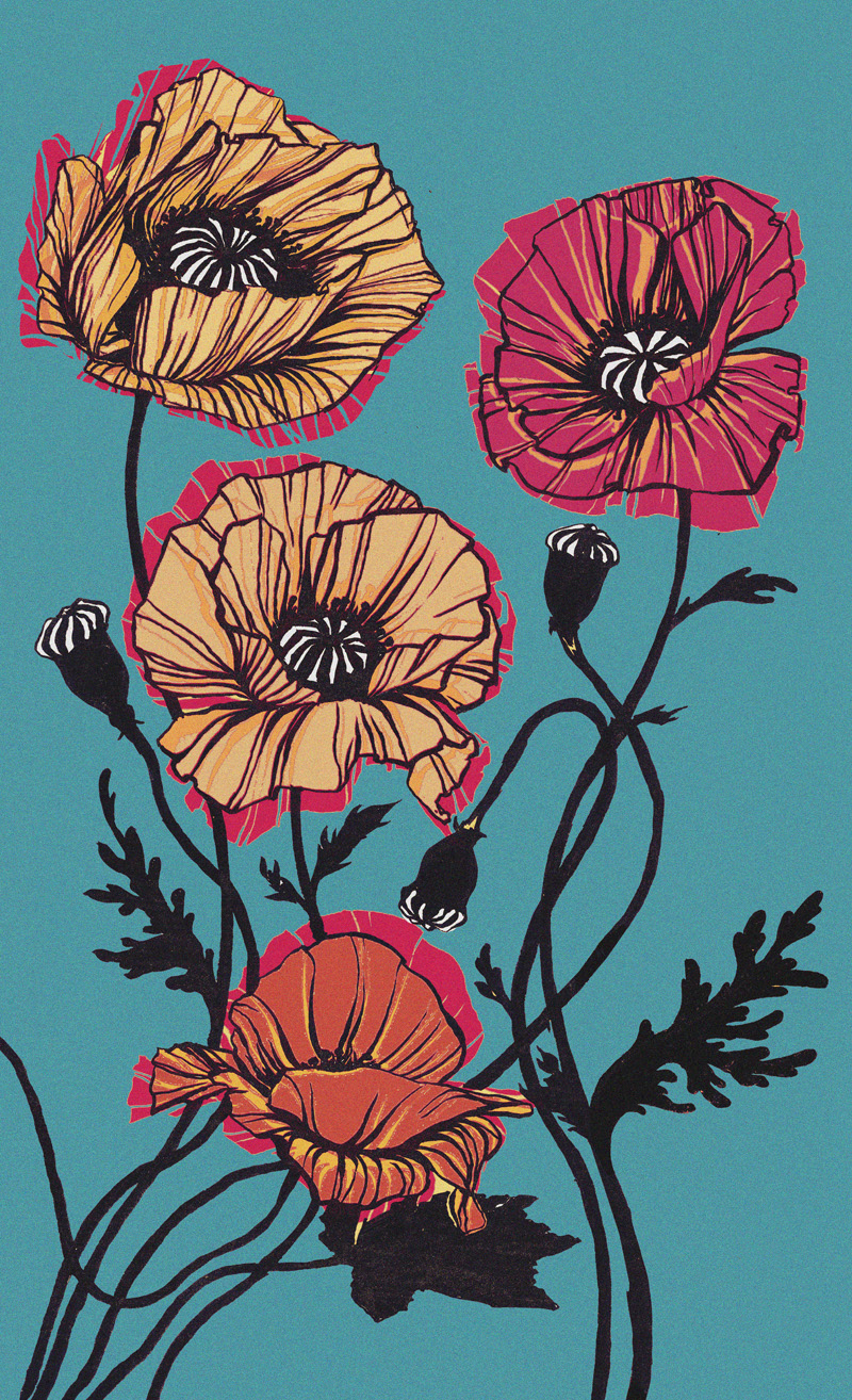 Three Poppies (pan colours)