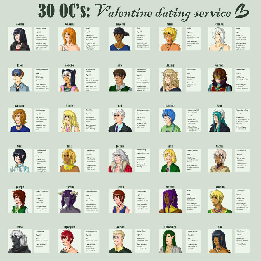 30 OCs : Valentine dating service by Y-n-Y