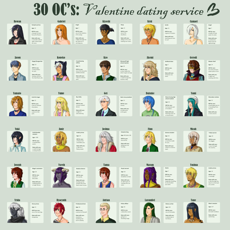 30 OCs : Valentine dating service by Y-n-Y