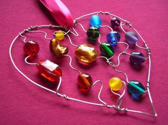 Rainbow Beaded Heart by SneddoniaDesigns