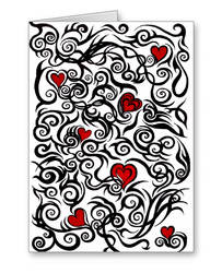 Tribal Hearts - Valentine's Day greetings card by SneddoniaDesigns