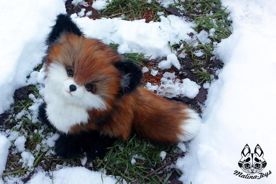 Hand made: Poseable fox cub by MalinaToys