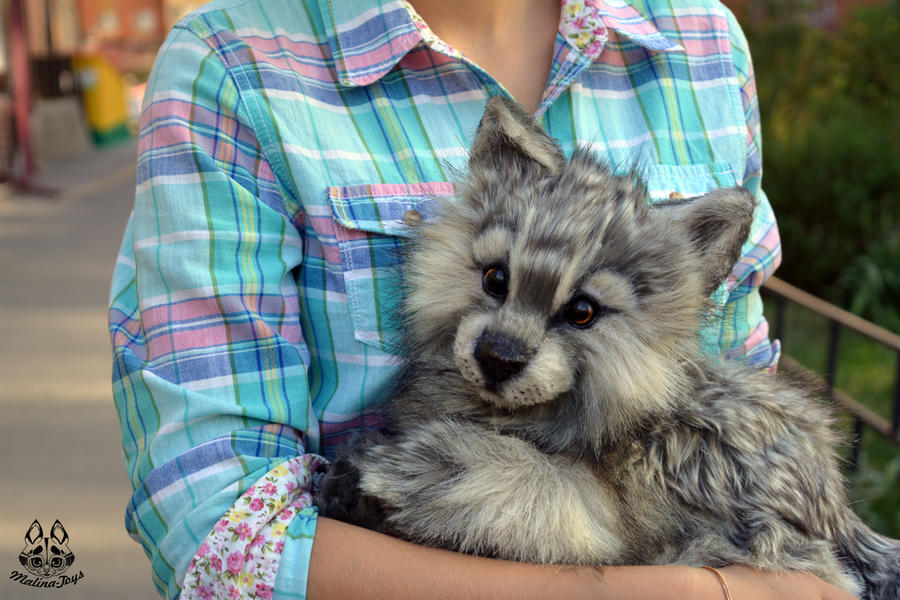 Handmade Poseable Wolf Cub by MalinaToys
