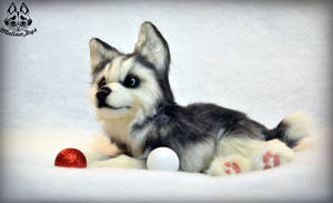 Poseable toy commission :Husky puppy