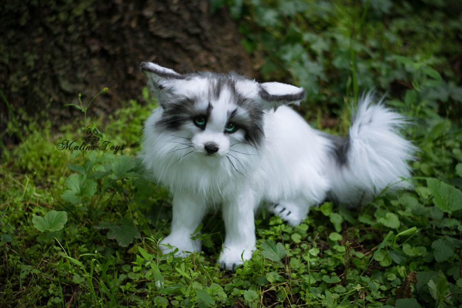 sold handmade poseable toy arctic marble fox by malinatoys on