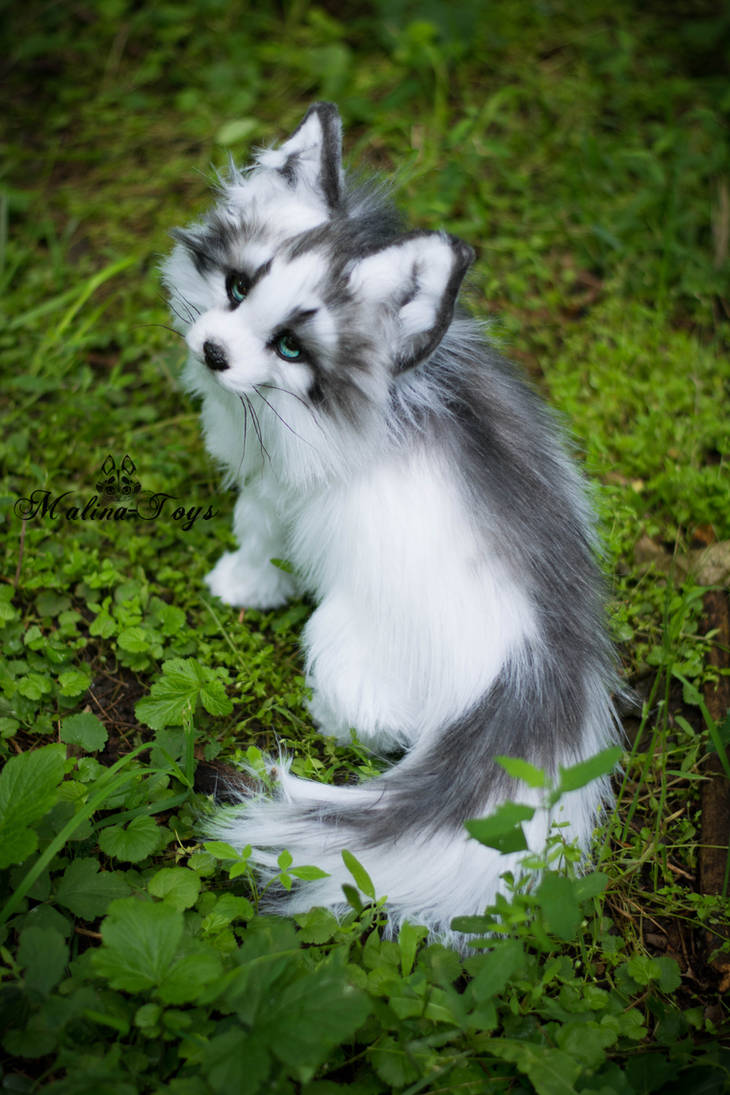 Sold Handmade Poseable Toy Arctic Marble Fox By
