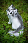 Sold! Handmade Poseable toy Arctic Marble Fox