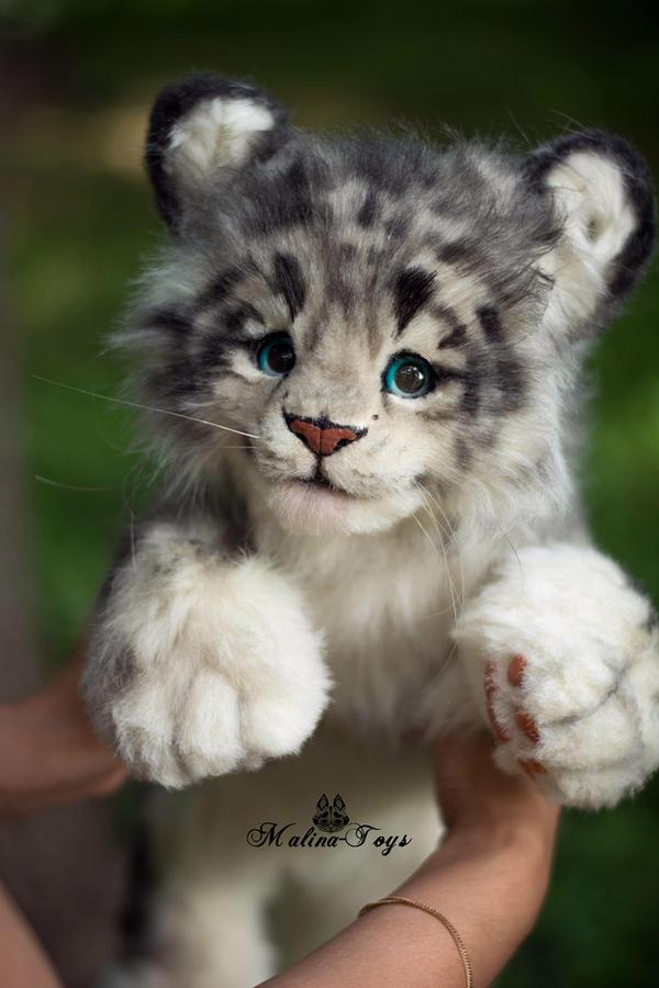 Handmade Poseable Toy Snow Leopard Cub By MalinaToys