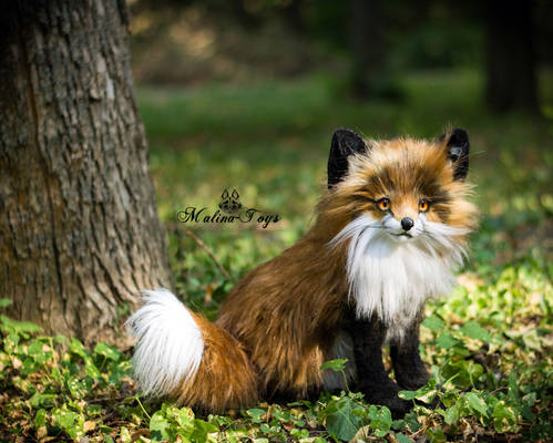 SOLD! 100 % Handmade Poseable toy  Fox!