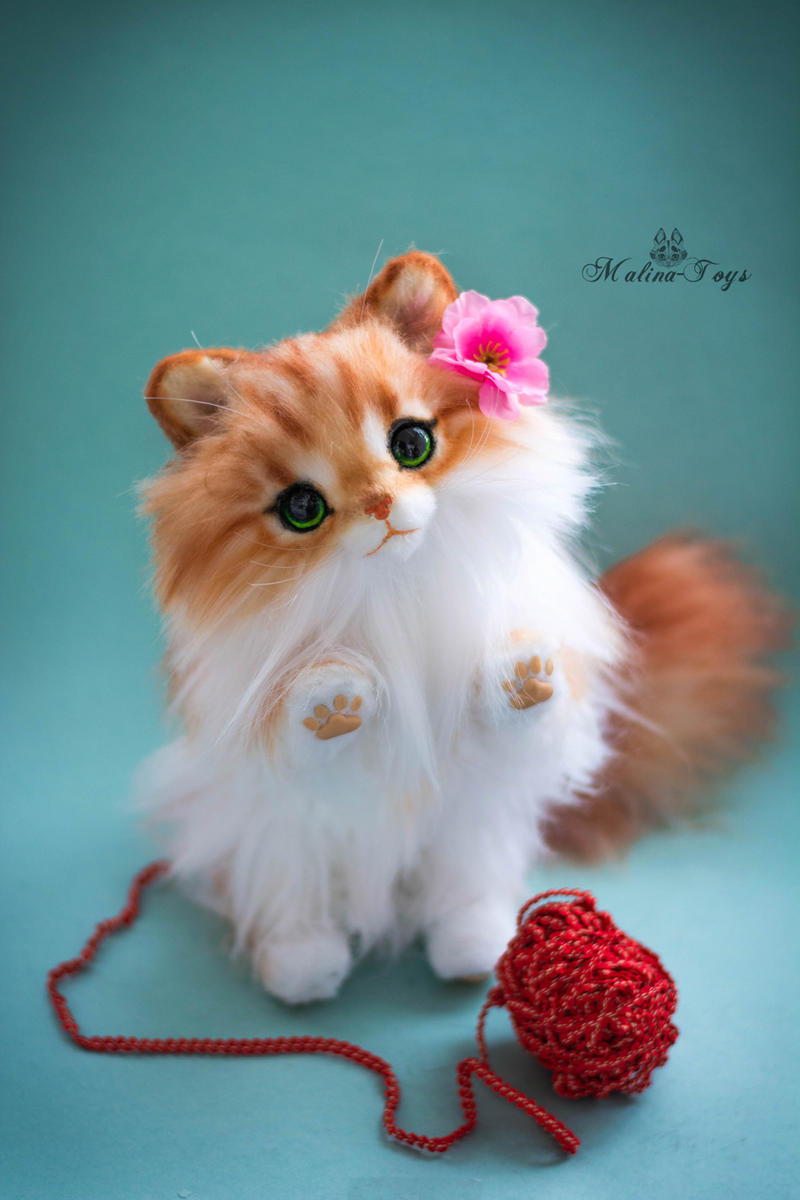 FOR SALE Handmade Poseable toy fluffy kitten by MalinaToys on