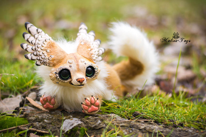 FOR SALE! Handmade poseable Winged fox by MalinaToys