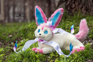 Poseable toy commission Sylveon Pokemon by MalinaToys