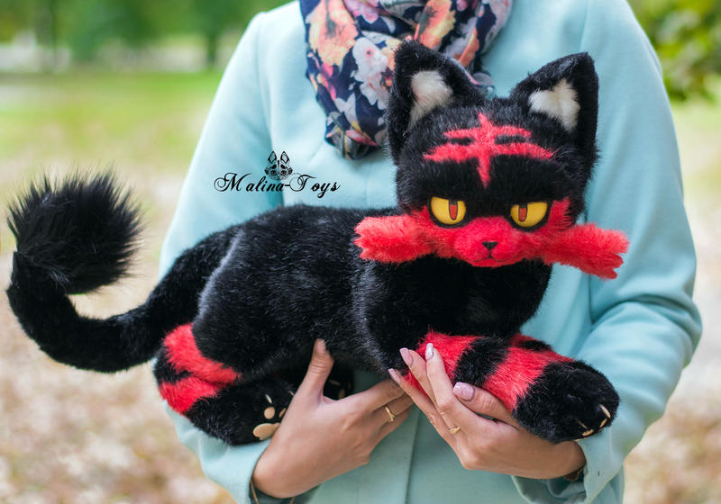 Poseable toy commission Pokemon Cat Litten by MalinaToys
