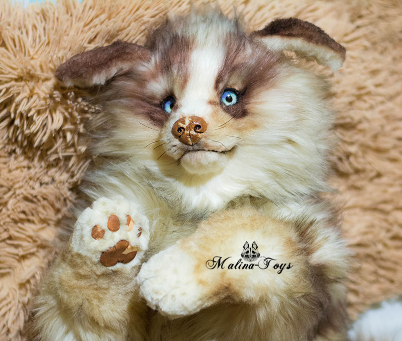 Poseable toy commission Australian Shepherd Puppy by MalinaToys