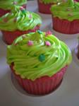 Green N Pink Cupcakes