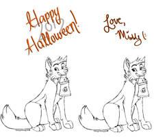 FREE Canine Halloween Linart -MSpaintfriendly- by MidnightAlleyCat