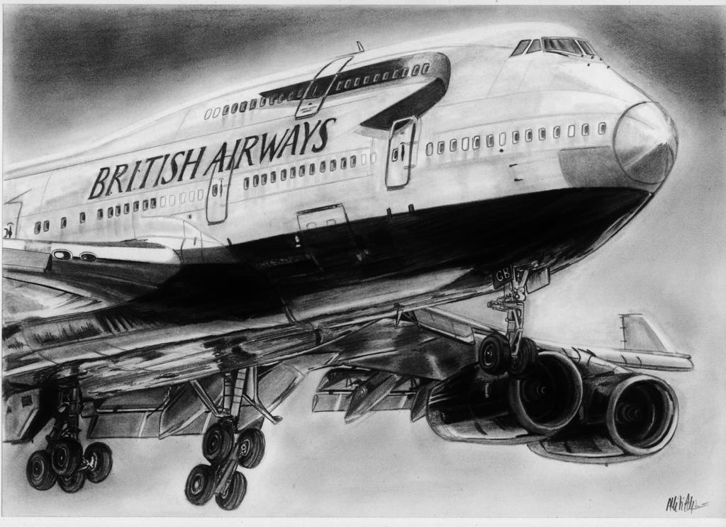 Boeing 747-400 drawing by alainmi
