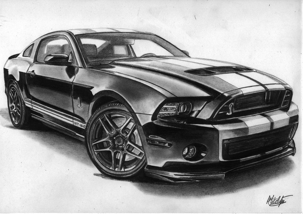 1967 Ford Mustang GT500 Fastback Drawing watch in hd