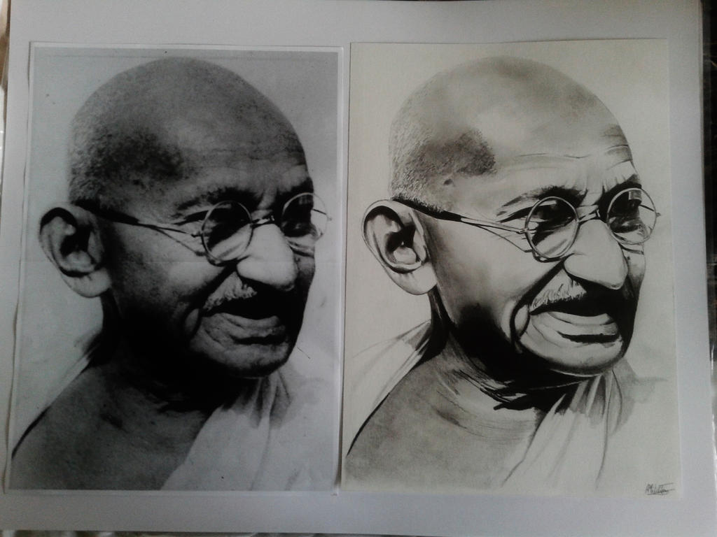 Mahatma Gandhi drawing VS original by alainmi