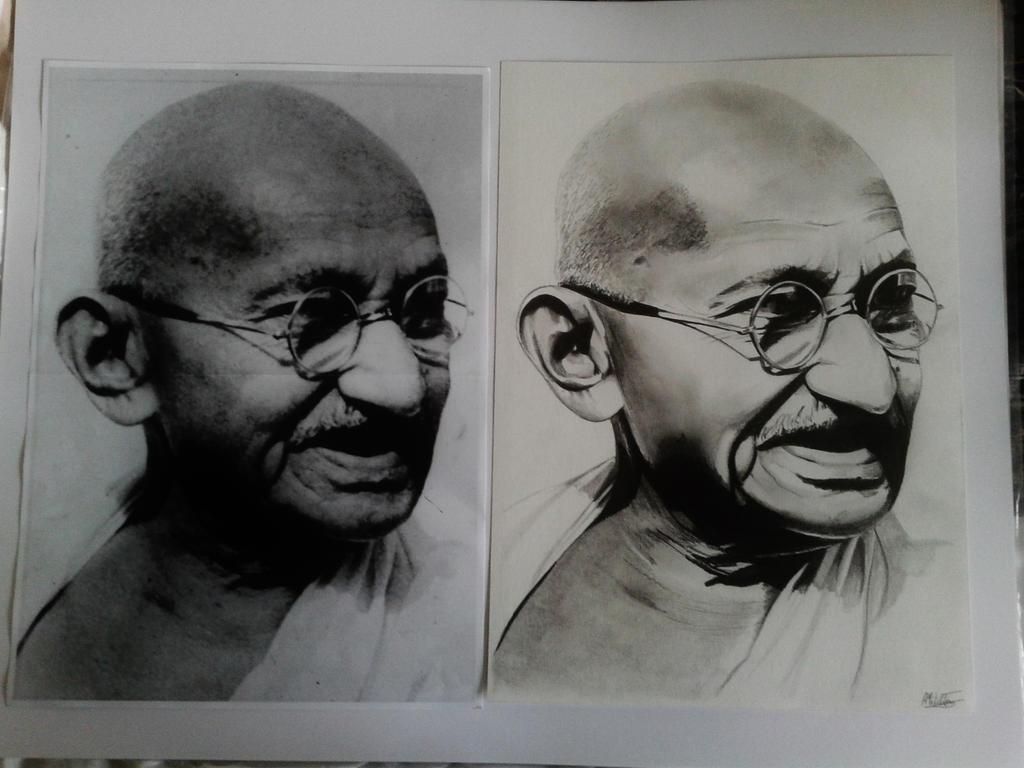 Mahatma Gandhi drawing VS original by alainmi