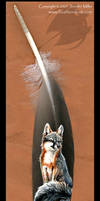 Grey Fox painted feather