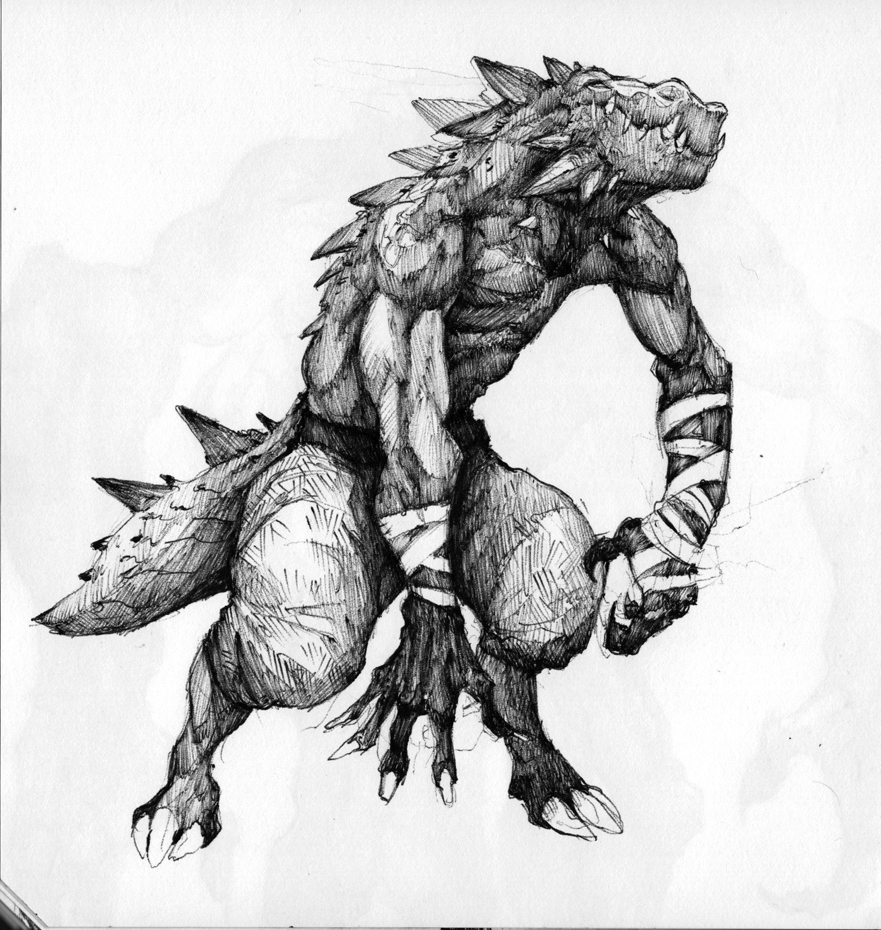 Sketchbook_028_Lizardman by thiago-almeida