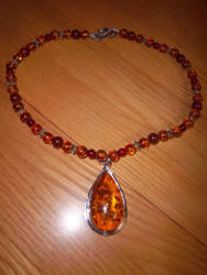 Faux amber pendant for SCA garb (repaired) by NeSempai