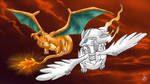 Charizard and Reshiram flying